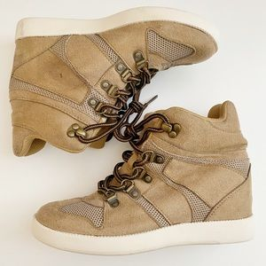 JustFab Tan Brown Sneaker Wedge